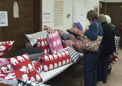 Handmade pillows were popular items.