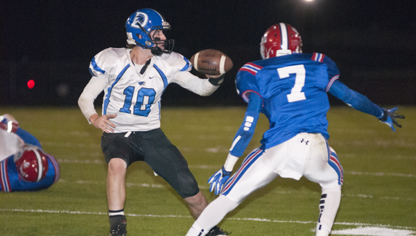 Demopolis High School quarterback Tyler Oates had two touchdown passes Friday and almost lead his time to a come-from-behind victory until a tipped pass was intercepted inside the 10-yard-line.