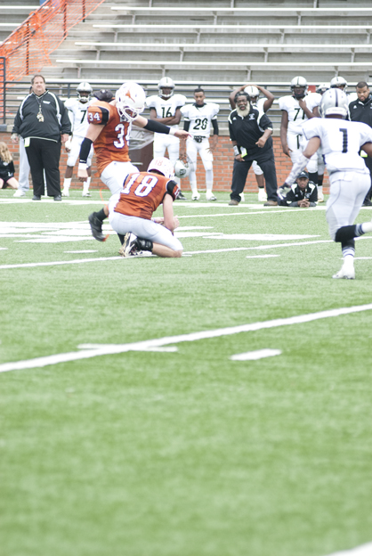 Brant Lewis kicks a 31-yard field goal to put MA on top 31-28 with three seconds to play.