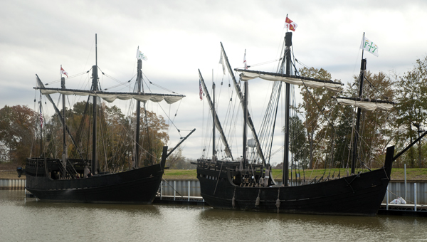 Replicas of Christopher Columbus' ships. The Nina and The Pinta, have arrived in Demopolis.