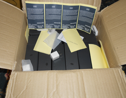 The task force seized multiple boxes full of counterfeit iPhones.