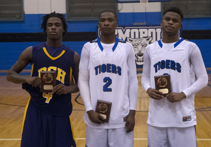 The Demopolis High Christmas Tournament All-Tournament team, from left, is R.C. Hatch's Bakauri Jackson, DHS' Roderick Davis and DHS' Kiante Jefferies. Jefferies was also tournament MVP. Not pictured are Michael Moore from John Essex and Imoras Agee from Linden.