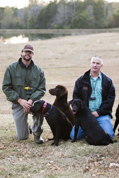 The Blackbelt Retriever kennel can hold 14 dogs. Shown are Brandon Smith and Mark Bedsole.
