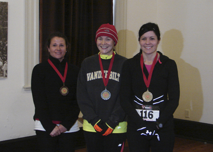 The top three female finishers in the race were, from right, Stacey Holtzclaw, Erin Stewart and Meg Rankin.