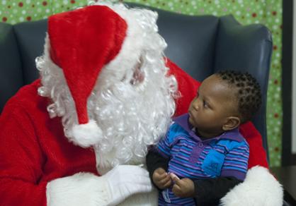 Alexander Pittman visits with Santa.
