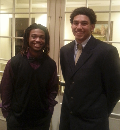 Sweet Water's Jakoby Aldridge and Demopolis' Demetrius Kemp at the Alabama-Mississippi All-Star Classic Banquet during All-Star Week.