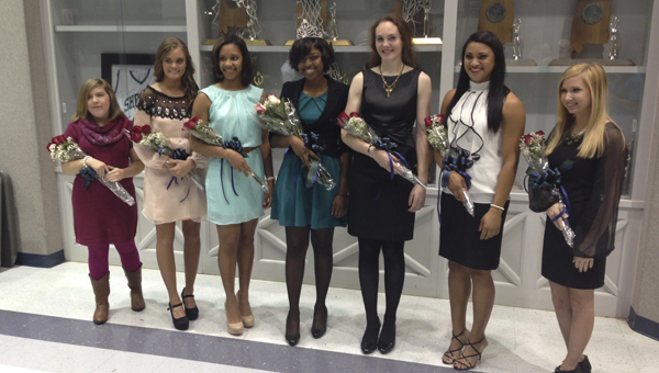 Shown is the 2013 Shelton State Community College Homecoming Court. From left to right are Haley Cook, Kelsey Davis, Amber Yelding, Homecoming Queen Yanna Johnson, Kaitlyn Taylor, Kayla Mclean and Monica Lynn.