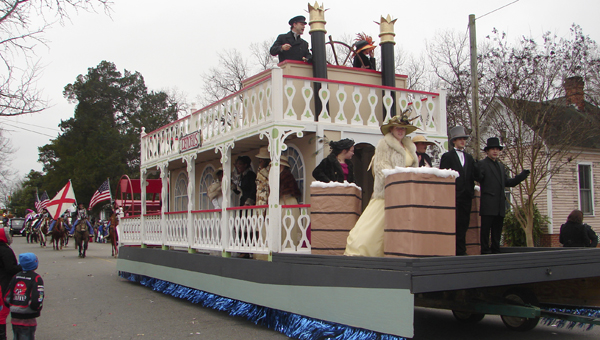 The Steamboat float was one of five new floats in this year's day parade. It carried the Demopolis Middle School choir.