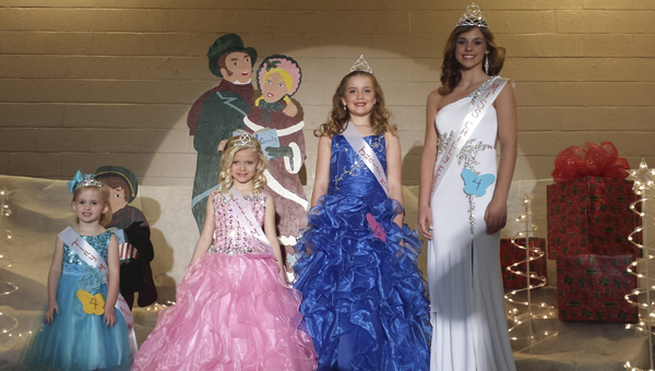 The ChiLLy Fest Pageant winners were, from left, Tiny Miss ChiLLy Fest Ally Reid Cook, Little Miss ChiLLy Fest Adalyn Broox Lindsay, Junior Miss ChiLLy Fest Alysse Dunklin, and Miss ChiLLy Fest Macey Petrey.