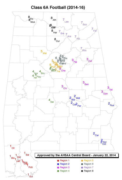 Map of Class 6A in football (AHSAA)
