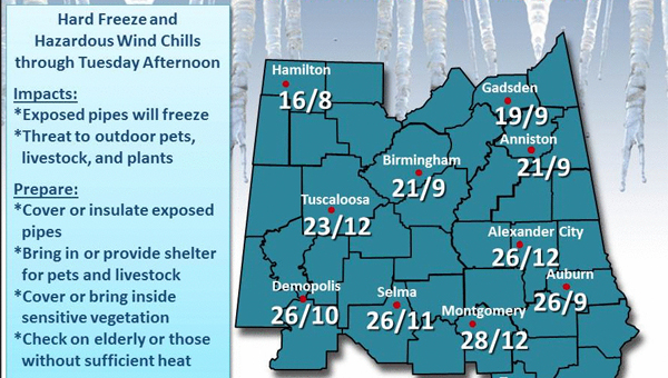 The Birmingham National Weather Service is forecasting a low of 10 F Tuesday morning in Demopolis.