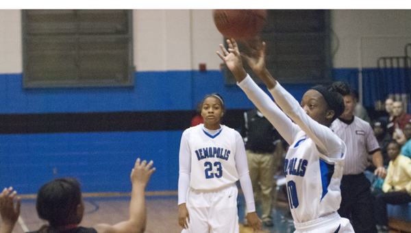 Erica Bennett takes a three-pointer for Demopolis. She finished the game with 16 points.