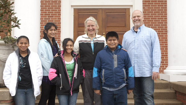 Jesus Centered Ministries visited Demopolis this week to spread the word about their missions in Nicaragua. They take in children that need medical care or do not have a home. Shown, from left, are Monica Munoz, Wendy Munoz, Gabriela Molinares, Cheryl Spence, Eliezer Munoz and JCM President Mark Shoemaker.