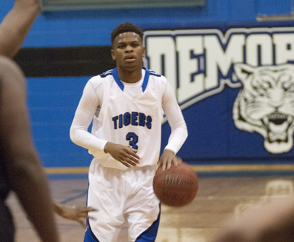 Kiante Jefferies brings the ball up the court for Demopolis.