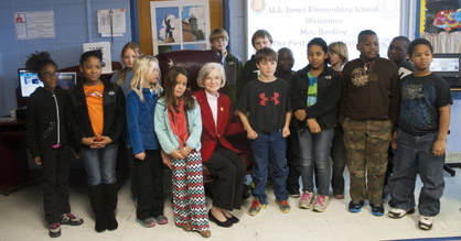 Students in Kristi Stokes' class are shown with First Lady Dianne Bentley.