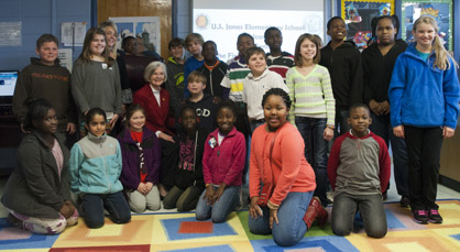 Students in Stephanie Polk's class are shown with First Lady Dianne Bentley.