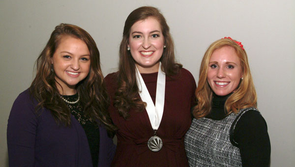 Emily Thompson (left) is shown with  2013 Alabama Distinguished Young Woman Jean Elizabeth Miles (center) and her roommate for the state  competition,  Colbert County DYW Sydney  McKinney.