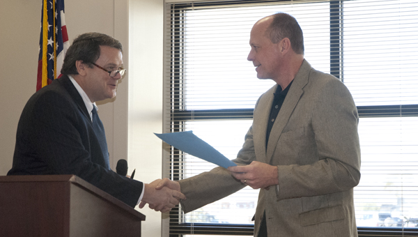 Mike Marshall with the Delta Regional Authority congratulates Bryan W. Whitfield administrator Mike Marshall on the $163,145 grant.