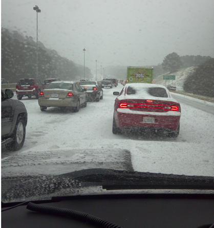 Traffic ahead of Smith was at a standstill on Interstate 459.