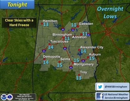 Forecast for Wednesday night.