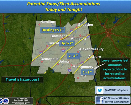 The National Weather Service in Birmingham predicts that Demopolis and Marengo County are expected to receive up to two inches of snow and sleet accumulation Tuesday.