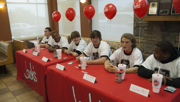Matt Dauphin, Davontae May, Sam Renner, Tyler Colburn, Tyler Overstreet and KeSean Bell competed in the annual Demopolis City Schools Foundation's annual pancake eating contest Tuesday night.