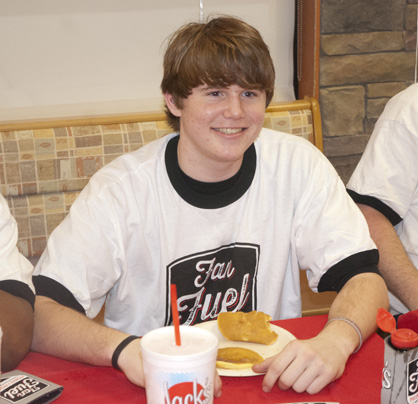 Sam Renner won the contest by eating 11 and a half pancakes in three and a half minutes.