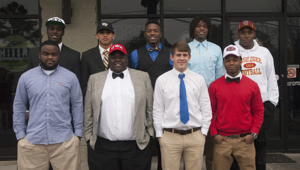 Nine football players from Marengo County will be playing football at the next level. Shown are (back) Tyler Merriweather, Demetrius Kemp, Cortez Lewis, Kynard Craig and Demarcus Gamble; (front) Chris Rogers, Hollis Bright, Peyton Pearson and Jakoby Aldridge.