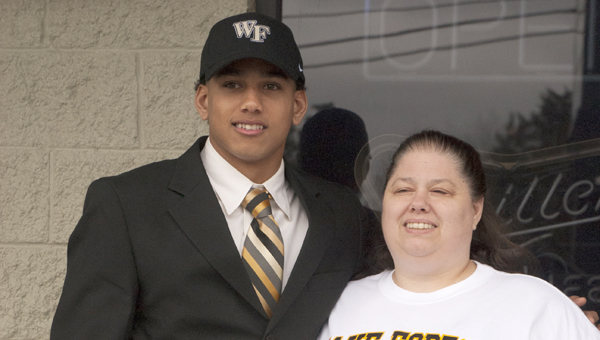 Demopolis Tiger and future Wake Forest player Demetrius Kemp with mom Courtney.
