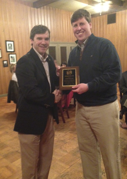 Jason Windham (right) was named Rotarian of the Year on Thursday during the club's annual banquet. He is shown with Rotary Club President Rob Pearson.