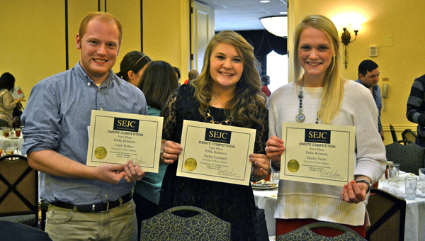UWA students Caleb Walters, Shelby Campbell and Hayley Taylor won first place in the onsite competition for public relations at SEJC. Campbell also won first place in best multi-media journalist competition.