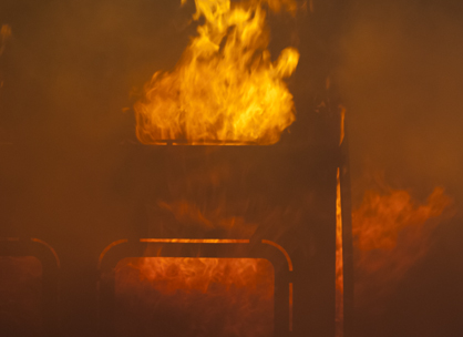 The training trailer simulates fire and smoke for a full live fire training experience.