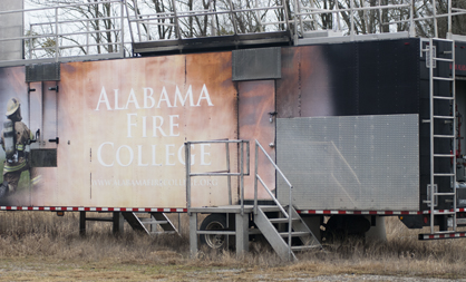 The Alabama Fire College takes their Mobile Fire Trainer to different fire departments across the state to help with training.