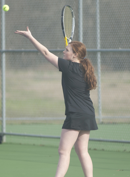 Meredith Hill gets ready to serve.
