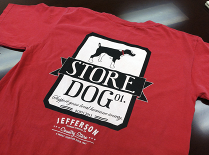 Store Dog T-shirts are available for $20 at the Jefferson Country Store. A portion of the proceeds go to the Bigbee Humane Society.