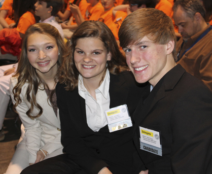 Mary-McClain Colgrove (left) was named State Junior Beta Club President at the Junior Beta Club State Convention earlier this week. She is shown with other delegates from other schools in Alabama.