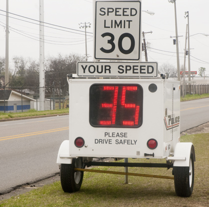 The Demopolis Police Department's radar trailer will flash red when it detects a vehicle traveling over the speed limit.