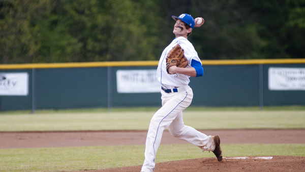 Tripp Perry pitched a complete game for Demopolis in the first game of Friday's double header.