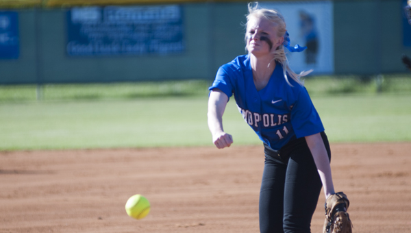 Hanna Malone pitched all seven innings for Demopolis on Thursday.