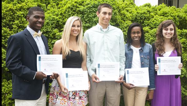 Shown are Auxiliary scholarship winners: Jerel Merida, Madison Davidson, Tate Gibbs, LaKendra Bruno and Rachel England. Octavia Stockton is not shown.