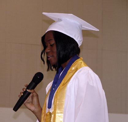 LHS valedictorian Alexis Johnson speaks to her classmates.
