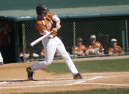Hayden Huckabee takes a swing at a pitch against Edgewood Academy.