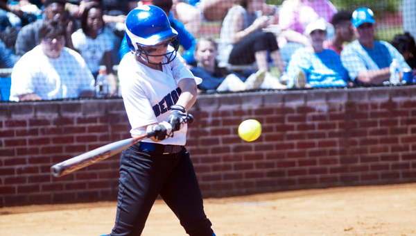 Cameron Thomason takes a swing at a pitch against Greenville on Friday in the area tournament.