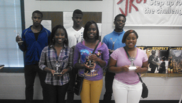 Johnny Carter III, Jamal Lee, Xavier McShan, Caitlin Robertson, Ke'Shanda Walker and Brittany Mosley competed in the Demopolis High School JROTC Cadet Challenge earlier this month.
