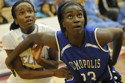 Shadijah Moore boxes out an opponent during her time at Demopolis High School.