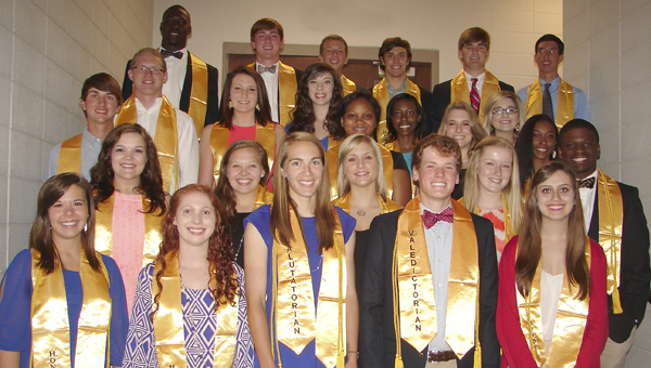 Demopolis High Honor Line and Top 10 percent (gold cords).