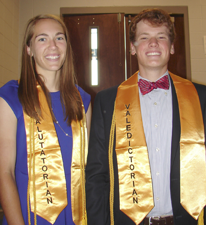 2014 Salutatorian Riley King and Valedictorian Braden Spiller.