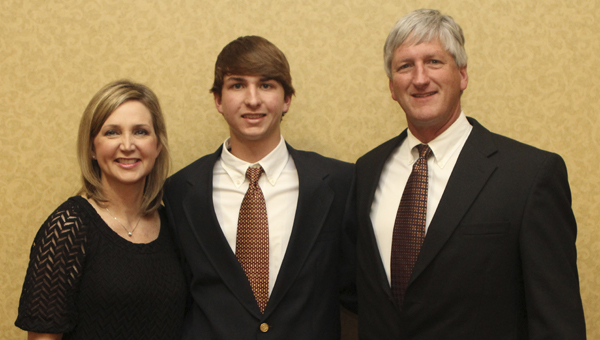 John Chandler Stuedeman of Demopolis was presented with a Cecil Lane Family Scholarship at the 71st Annual Alabama Cattlemen's Association Convention and Trade Show in Montgomery. He is pictured with his parents, Mary and Ted Stuedeman.