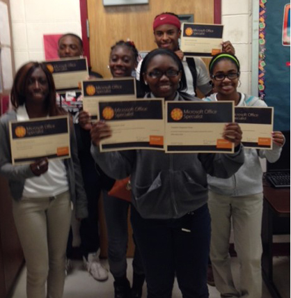 Six A.L. Johnson students received Microsoft Office Specialist certifications. Shown from left are Alisha Davis,  Kenneth Daniel, Tiffany Barber, Taneshia Shaw, Desmond Mair and Johnae' Jones.