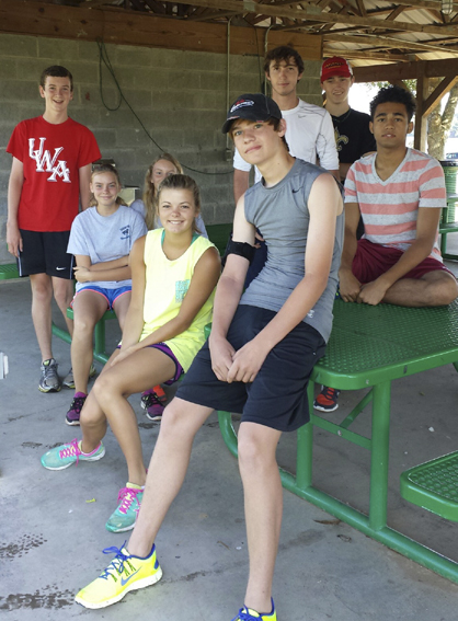 Some of the Demopolis High School cross country runners got together earlier this week for training. Shown from left are Banks Compton, Audrey Boykin, Gracie Boykin, Austin Brooks, Brent Langley, Lauren Boone, Clay McVay and Baha Fultz.